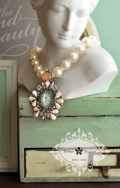 Bitter Sweet Jewellery statement necklace. #bold #mint #statement #pink #coral #grand #pearl #mint #beige #necklace