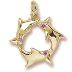 Rembrandt Charms - Dolphins Charm @HeritageJewelers