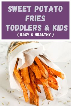 Super simple, easy healthy and delicious side to weeknight dinner. 10 min prep, 30 min in the oven, for Baked Sweet Potato Fries that your whole family will love. Perfect for finger food, kids 9 month old and older, toddlers and kids. Pureed Food Recipes, Fish Recipes, Vegetable Recipes, Meat Recipes, Vegetarian Recipes, Toddler Dinner Recipes, Healthy Toddler Meals, Baked Chicken Fajitas, Oven Baked Chicken