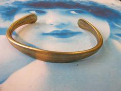 Raw Brass Bangle Mens Bracelet with Tapered by dimestoreemporium