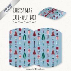 Blue christmas cut out box