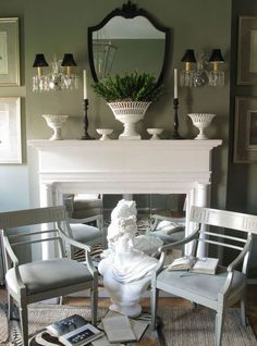 Mantle Decor - Design photos, ideas and inspiration. Amazing gallery of interior design and decorating ideas of Mantle Decor in bedrooms, living rooms, decks/patios by elite interior designers - Page 4 Unused Fireplace, Fireplace Mirror, White Fireplace, Faux Fireplace, Fireplaces, White Mantle, Fireplace Mantels, Fireplace Tiles, Classic Fireplace