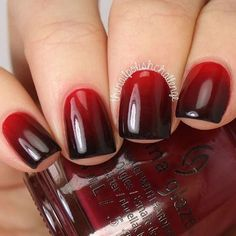 Red to black ombre nails