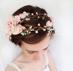 romantic pink flower bridal headpiece, flower crown, wedding hair wreath - LAMBS EAR - pale green and ivory. $140.00, via Etsy.