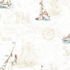 Brewster DLR47503 Flagler Salmon Water's Edge Map Wallpaper Salmon Waters Edge Wall Coverings Wallpaper NULL