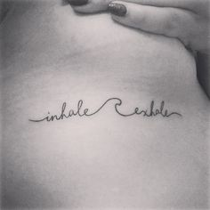 Minimal tattoo qoute 'Inhale Exhale' By Lonewolf Studio Bkk Thailand