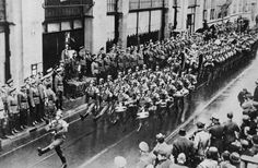May 1940. German troops march in Amsterdam after capitulation of the Dutch armed forces. #amsterdam #worldwar2