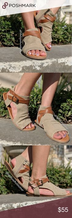 Strappy Buckle Boho Sandals @blushonme at Poshmark  Featuring a boho sandals for Spring. It's a slip on with inner side zipper closure. Straps & buckle detailed. Man-made canvas material and soft leather straps.  Runs small: Modeling a 7, my normal size is a 6.  🏷️ Price is Firm  🛒 To Buy: Click on the Buy Now button, or the Add To Bundle for multiple purchases 🙂🌷 Shoes Sandals