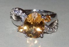 Outstanding 2.30 ct. GENUINE CITRINE on SOLID 925 Sterling Silver Handmade Infinity Cocktail RIng, size 4.5