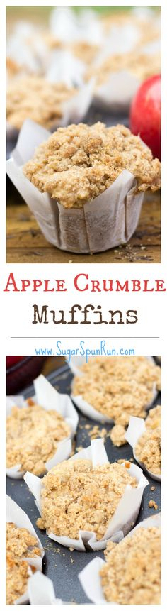 Apple Crumble Muffins--soft, fluffy and loaded with apples and a crumble topping SugarSpunRun (Apple Recipes Bread) Apple Desserts, Apple Recipes, Fall Recipes, Baking Recipes, Delicious Desserts, Yummy Food, Muffin Recipes, Desserts With Apples, Kabob Recipes