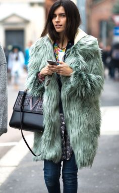 faux fur coat outfit #streetstyle