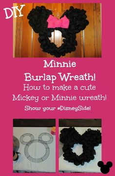 How to make an adorable Minnie or Mickey wreath - for your DisneySide Celebration, or for Valentine's Day! by aracisgon Tulle Wreath Tutorial, Diy Wreath, Wreath Ideas, Wreath Making, Wreath Crafts, Burlap Crafts, Xmas Crafts, Disney Diy, Disney Crafts