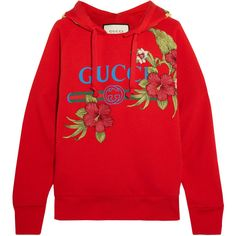 Gucci Embroidered printed cotton-jersey hooded top (€1.455) ❤ liked on Polyvore featuring tops, hoodies, sweaters, gucci, sweatshirt, embroidered hoodies, distressed hoodie, gucci hoodies, red hoodie and oversized hoodies