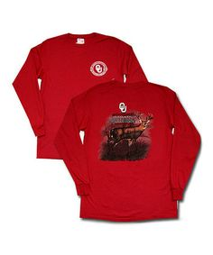 Take a look at this Crimson Oklahoma Deer Long-Sleeve Tee by Turnovers, Inc. on #zulily today!