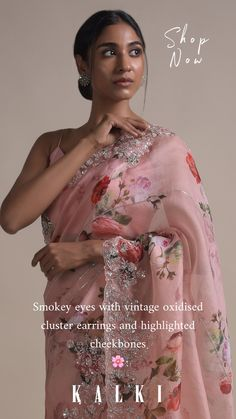 Baby pink saree in organza with floral print. Further enhanced with sequins, cut dana and pearls work in floral pattern on the border and stripes. Paired with a matching pink unstitched blouse in cotton with floral prin Drape Sarees, Organza Saree, Dhoti Saree, Anarkali, Lehenga, Stylish Sarees, Trendy Sarees, Baby Pink Saree, Indian Designer Outfits