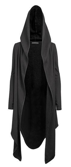 Veste noire longue effet cape avec capuche et manches mitaines e1f5b1ed3d1