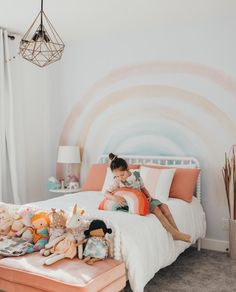 Elsi Rainbow Wallpaper – little girl rooms Teen Girl Bedrooms, Little Girl Rooms, Rainbow Girls Bedroom, Girl Toddler Bedroom, Baby Bedroom, Kids Bedroom Ideas For Girls Toddler, Rainbow Room Kids, Rainbow Nursery, Girl Kids Room