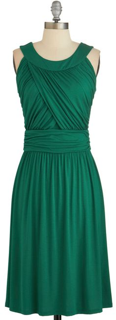 deep emerald draped dress