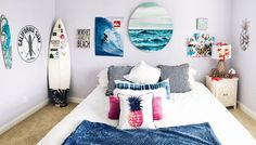 ☆ p i n t e r e s t: ☆ room ideas bedroom, diy room decor, bed Cute Bedroom Ideas, Cute Room Decor, Room Ideas Bedroom, Bedroom Themes, Bedroom Decor, Surf Theme Bedrooms, Beachy Room Decor, Bedroom Inspo, Surfer Room