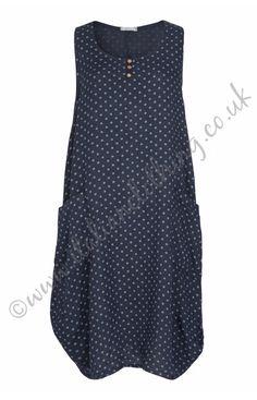 Sandringham Polka Dot  Linen Dress - Navy Italian Clothing, Italian Outfits, Polka Dot Top, Navy, How To Make, Clothes, Tops, Dresses, Women