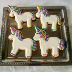 Rainbow unicorn decorated sugar cookies