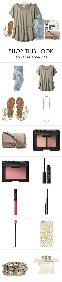 """illecebrous"" by katie-tx ❤ liked on Polyvore featuring Wrap, EAST, Billabong, Chan Luu, Chloé, NARS Cosmetics, BaubleBar, Hipchik and Kendra Scott"