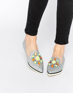 Image 1 of ASOS METAPHOR Embellished Flat Shoes