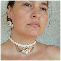 dainty choker victorian choker beige choker necklace mori
