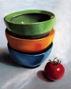 """Daily Paintworks - """"3 Bowls Still Life painting"""" - Original Fine Art for Sale - © Ria Hills"""