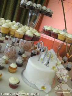 "Design W 0188 | 8"" Fondant Covered Wedding Cake & Assorted Cupcakes  | Custom Quote"