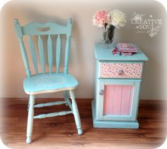 Shabby floral bedside table and chair painted in Annie Sloan chalk paint (custom mix)