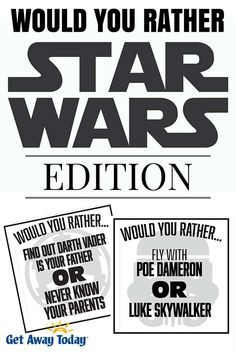 Would You Rather Game Star Wars Edition Free Printable - Star Wars Funny - Funny Star Wars Meme - - Would You Rather Game Star Wars Edition Free Printable The post Would You Rather Game Star Wars Edition Free Printable appeared first on Gag Dad. Theme Star Wars, Star Wars Games, Star Wars Day, Star Wars Trivia, Disney Games, Disney Trips, Disney Cruise, Disney Diy, Disney Ideas