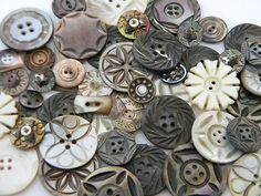 Victorian old carved shell pearl buttons