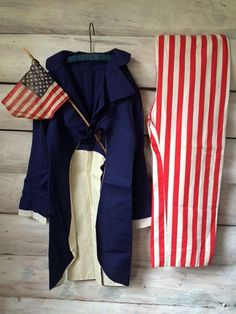 Early Primitive Americana Folk Art Childrens Childs Uncle Sam Parade Costume
