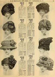 Macy & Co., catalogue no. spring/summer to enlarge) Edwardian Fashion, Vintage Fashion, 1900s Fashion, Edwardian Era, Ladies Fashion, Vintage Bridal, Vintage Hats, Historical Costume, Couture