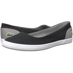 Lacoste Lancelle Ballerina 317 1 (Black/Grey) Women's Shoes (86 CAD) ❤ liked on Polyvore featuring shoes, flats, round toe ballet flats, grey ballerina flats, black round toe flats, slip-on shoes and ballet flats