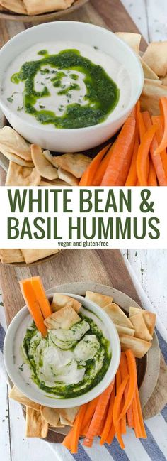 White bean hummus with basil oil drizzle! This low-fat hummus is bursting with fresh flavor, perfect as a dip or spread on sandwiches. Vegan and GlutenFree. #vegan #glutenfree #vegetarian #hummus #beans #vegetarianrecipes