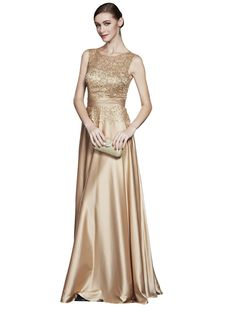 Beauty-Emily Maxi Long Satin A-Line Sequined Hollowed-out Lace O-Neck Sleeveless Multicolor Cocktail Quinceanera First Communion Color Gold,Size 06. Start with this elegant long evening dress which can be used as bridesmaid dress, wedding party dress, evening dress, or cocktail dress.