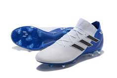 adidas Nemeziz Messi 18.1 FG Copa Mundial 2018 - Blanco Azul Adidas Messi, Adidas Nemeziz, Adidas Boots, Adidas Cleats, Adidas Sneakers, Cool Football Boots, Soccer Boots, Football Shoes, Football Kits