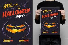 Ad: Halloween Design Template by Vecster on --- Are you ready to Halloween Party? Halloween Design Template by Vecster is ready for print vector art with editable text.