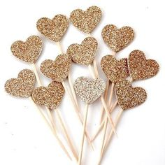 Add a touch of glamour to your wedding or your party with these Gold glitter cupcake toppers made from the highest quality cardstock.    The hearts