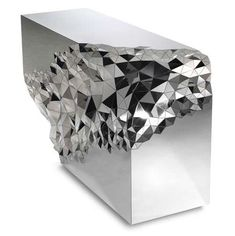 Not at all a typically table, Stellar Console Table will definitely remain in our memory as a unique piece of furniture. With an extravagant and sparkling appearance, this spectacular console table envisioned by Jake Phipps combines geometric Art Furniture, Mirrored Furniture, Design Furniture, Unique Furniture, Furniture Storage, Console Design, Spiegel Design, Amethyst Geode, Contemporary Interior