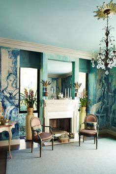 blue interiors, color, wall murals, wall paintings, sitting rooms