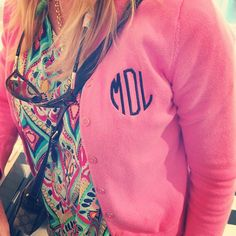 Bright shirt with monogrammed cardi.