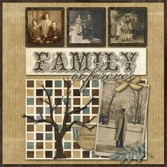 Heritage Look Family Tree Page...with sepia tone pictures.
