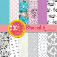 Wedding digital paper 'Bridezilla' roses and lace by GemmedSnail, $4.80