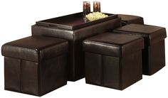 Convenience Concepts 143008 Designs-4-Comfort Manhattan Storage Bench with 4 Collapsible Ottomans