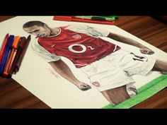 Pen Drawing Of Thierry Henry - Arsenal FC Legend - Freehand Art