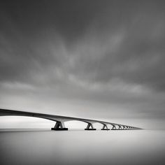Zeelandbrug, The Netherlands Part of a series of studies on this bridge. In Construction, Edifice, Bridge. The Bridge, photography by Lon Leijdekkers. Photography Awards, Fine Art Photography, Amazing Photography, Street Photography, Digital Photography, Research Images, Minimal Photo, Black And White Landscape, Landscape Photographers