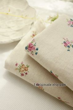 Natural Beige Linen Cotton Fabric With Little Pink Yellow Rose Floral, Shabby Chic Floral Fabric for Summer - 1/2 Yard